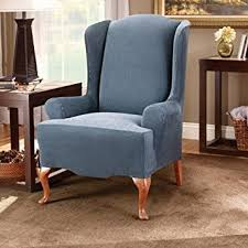sure fit slipcovers wing chair amazon com sure fit stretch stripe wing chair slipcover navy