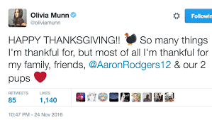 munn wished fans a happy thanksgiving and they ripped