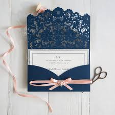 Folded Wedding Invitations Navy Blue And Peach Wedding Colors Inspired Laser Cut Wedding