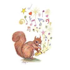 watercolour pencil drawing saxophone squirrel animal art