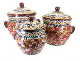 blue rose polish pottery autumn rose large canister set