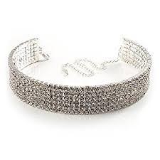 swarovski choker necklace images 5 row swarovski crystal choker necklace silver clear amazon co jpg