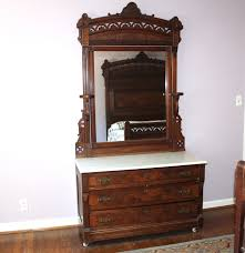 Eastlake Marble Top Bedroom Set Antique Eastlake Dresser With Mirror Ebth