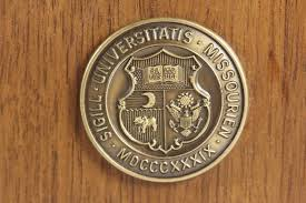 university of missouri book ends solid wood with brass crest