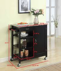 kitchen storage island cart king s brand black finish wood marble finish top