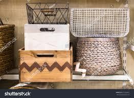 home storage assorted variety home storage organizing baskets stock photo