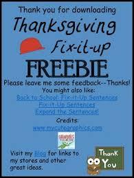 fix it up sentences thanksgiving freebie capital letters