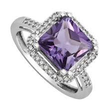 18ct white gold diamond amethyst 9ct white gold cushion cut amethyst and diamond ring