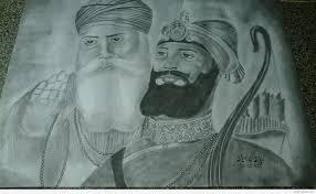 pencil sketch of guru nanak dev ji and guru gobind singh ji