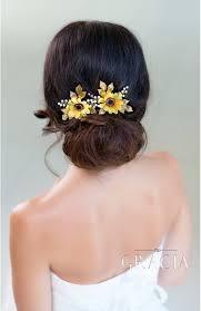 wedding hair accessories kallistrate autumn bridesmaid sunflower bridal hair pins fall