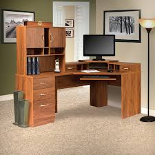 Corner Computer Desk Barrel Studio Lewisville Corner Computer Desk With Hutch