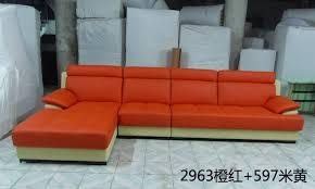 Orange Leather Sofa Cheap L Shaped Couch Sofa Modern Design Leather Fabric Sofa Se L