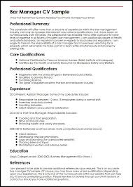 Resume Core Qualifications Examples by Bar Manager Cv Sample Myperfectcv