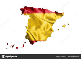 Spainish Flag Map Of Spain With Spanish Flag On It Isolated On White Background