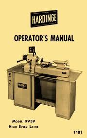 hardinge older dv59 metal lathe operator u0027s manual http