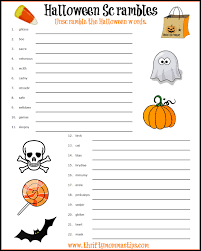 Printable Halloween Crossword Puzzles by Printable Halloween Word Scramble Printable Paper