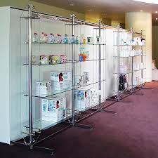 Display Shelving by Contemporary Shelf Glass For Shops Commercial Twin Rig