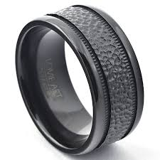 10mm ring 10mm wedding band hammered black zirconium ring