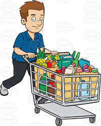 his and items a smiles after checking out of a supermarket with his grocery