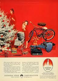 1955 ad merry christmas tree national steel bicycle original