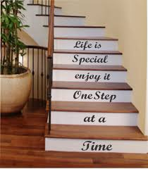 one step at a time vinyl stairs decal lettering for stairs