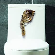3d cat wall sticker for bathroom bedroom decor brown pattern c
