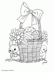 easter basket with eggs coloring page easter colouring pages bunnies eggs baskets