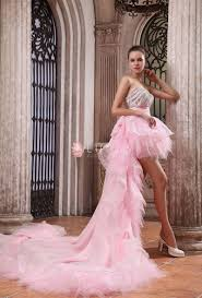 high low pink tulle strapless luxury prom gown lunss couture