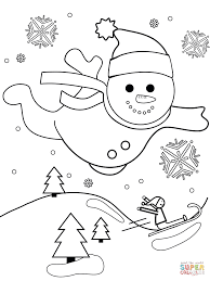 snowman flying through the air coloring page free printable