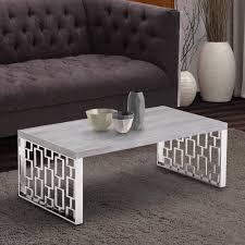 armen living coffee table armen living skyline grey wash wood coffee table in brushed steel