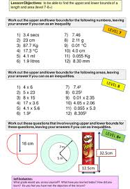 number differentiated worksheet on upper and lower bounds by