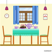 home interior vector dining room interior with utensils and furniture dining table and