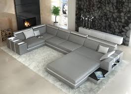 Faux Fur Area Rugs by Living Room U Shaped Gray Leather Couch With Built In End Tables