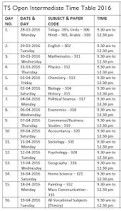 hyderabad telangana open school intermediate time table 2016
