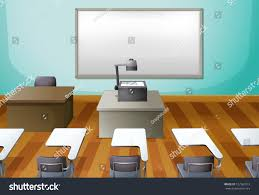 Classroom Computer Desk by Illustration Empty Classroom Projector Stock Illustration