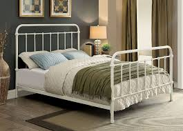 Antique White Metal Bed Frame Iria Metal Vintage Eastern King Size Platform Bed Frame