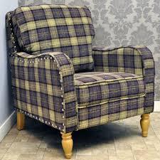 Tartan Armchairs Luxury Purple U0026 Green Check Checked Wool Fabric Arm Chair Armchair