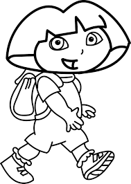 dora walking coloring page wecoloringpage