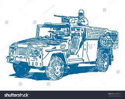military jeep with gun military vehicle machine gun sketch drawing stock vector 237038377