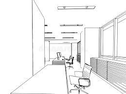 dessin de bureau perspective intérieure de dessin de croquis d ensemble d un bureau