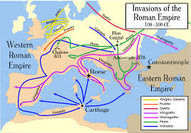 Roman Map Barbarian Invasions Of The Roman Empire 100 To 500