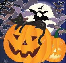 halloween background cat and pumpkin black cat laying on smiling halloween pumpkin bats and big moon