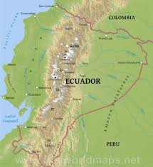 World Mountain Ranges Map by Ecuador Physical Map