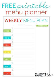 lunch box planner template printable meal planner template