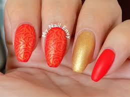 matte red and gold rose nails u2013 my nail envy
