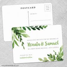 save the date postcards greenery save the date postcards