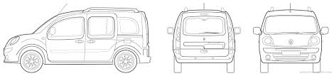 2010 renault kangoo minivan blueprints free outlines