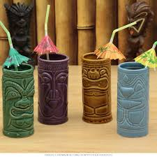 tiki home decor hawaiian tiki gods mug set tiki cocktail glasses retroplanet com
