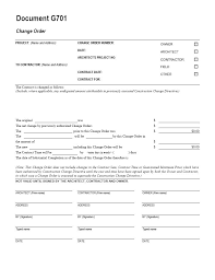 Change Order Template Excel Aia G701 Change Order Form Template For Excel Change Order Form