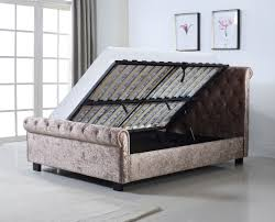 Ottoman Storage Bed Frame by Whitford Crushed Velvet Side Ottoman Storage Bed The World Of Beds